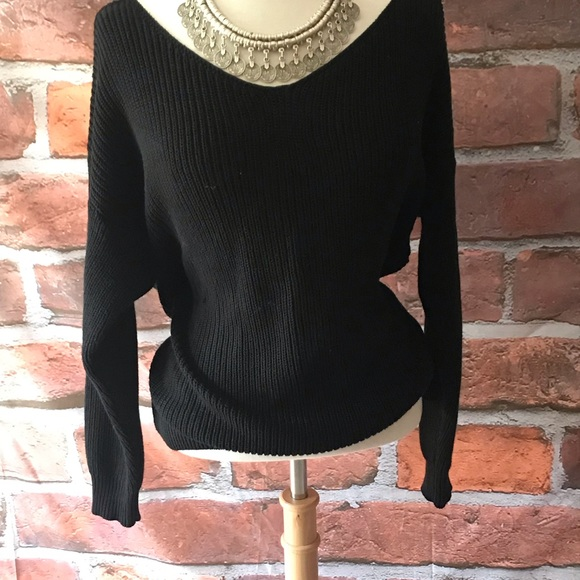 fate by LFD Tops - COPY - A Black twist back Sweater with Attitude